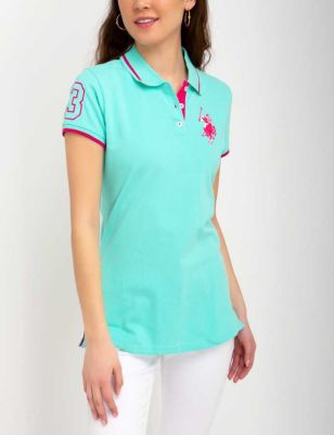 U.S. Polo Assn. - Women Trellis Aqua Stretch Multi Tonal Logo Polo Shirt