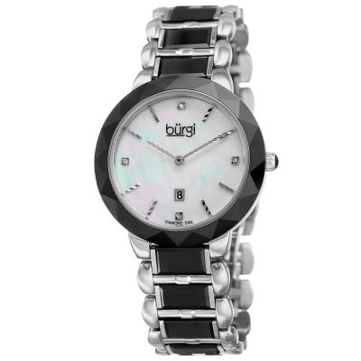 Burgi - Women's black and white ceramic bracelet watch with a MOP dial and date at 6. BUR147BK