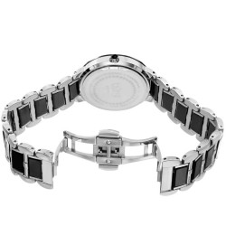 Women's black and white ceramic bracelet watch with a MOP dial and date at 6. BUR147BK - Thumbnail