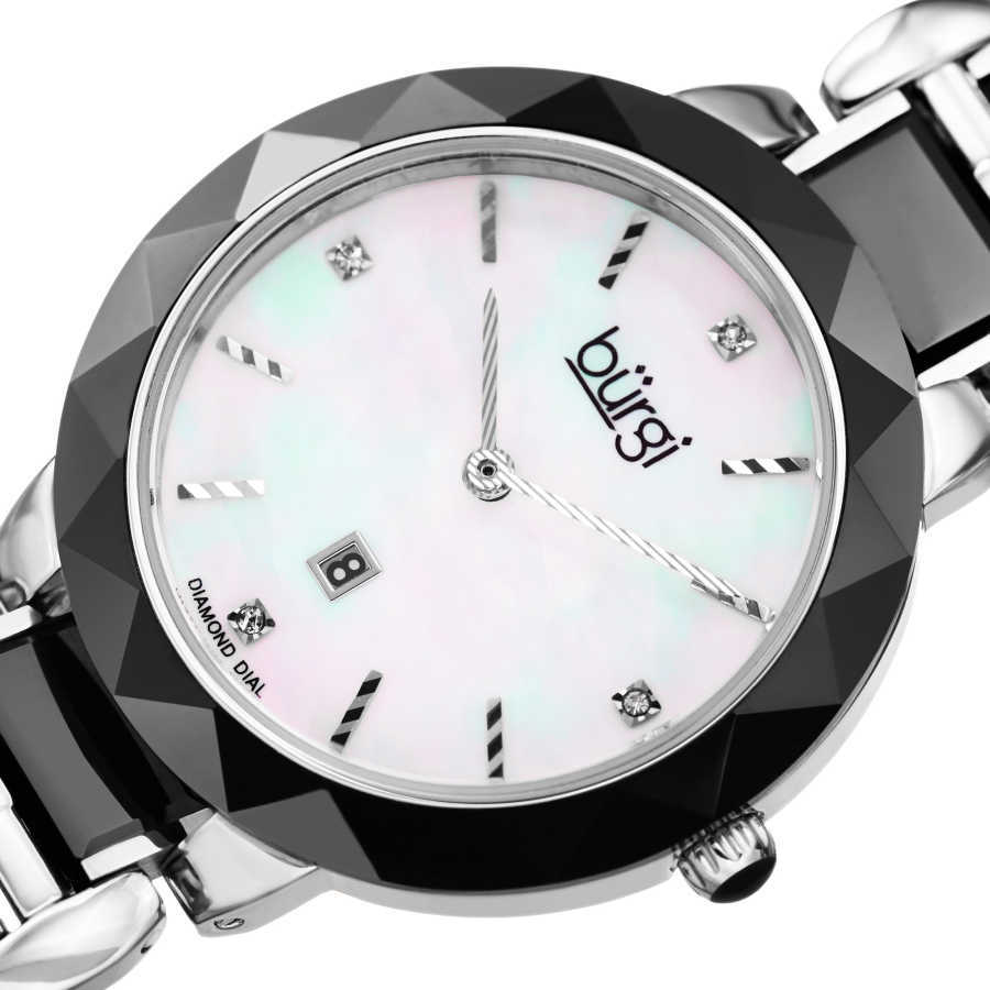 Women's black and white ceramic bracelet watch with a MOP dial and date at 6. BUR147BK