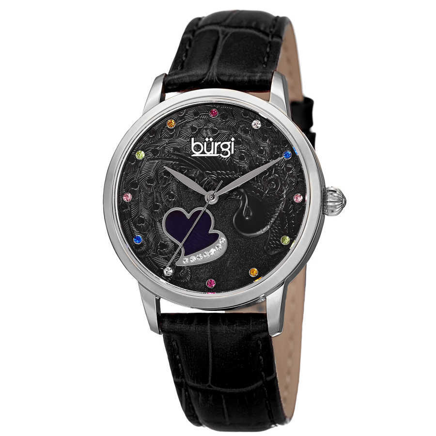 Women's black leather strap watch with a silver case. Peacock design on dial, with colorful Swarovski crystal markers, and a MOP heart. BUR149BK
