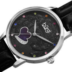 Women's black leather strap watch with a silver case. Peacock design on dial, with colorful Swarovski crystal markers, and a MOP heart. BUR149BK - Thumbnail