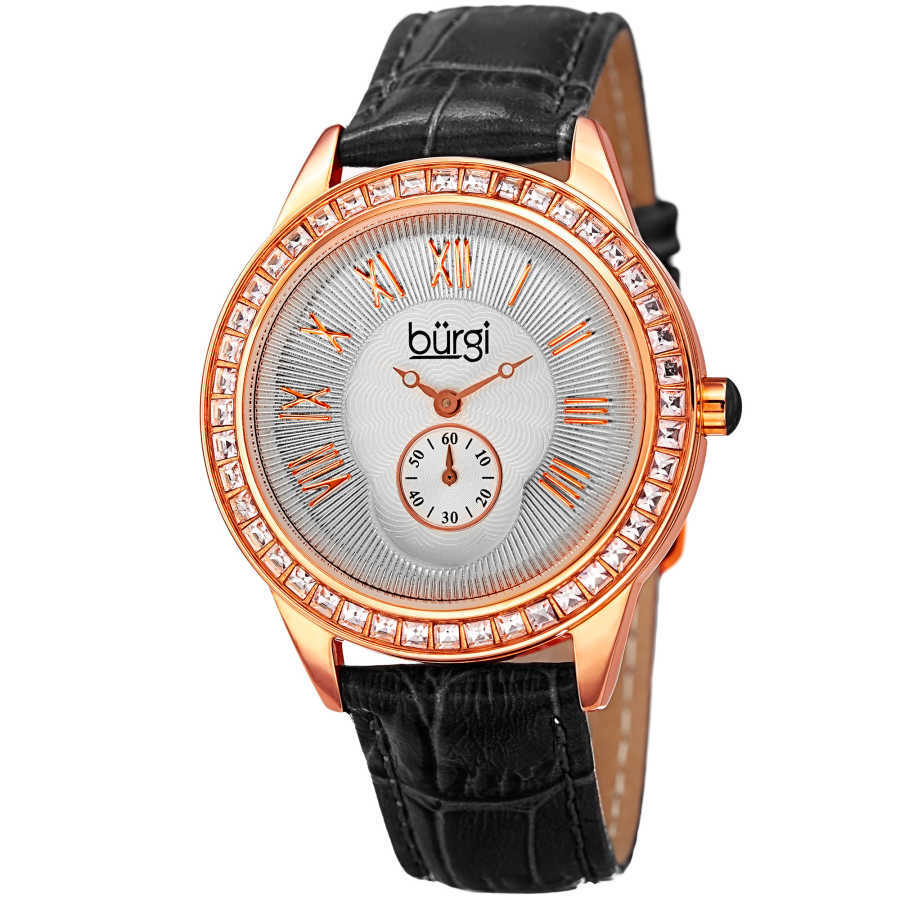 Women's black leather strap watch with a silver case, square crystals on the bezel. Outer coin edge dial and 60 seconds subdial at 6. (updated BUR106) BUR144BK