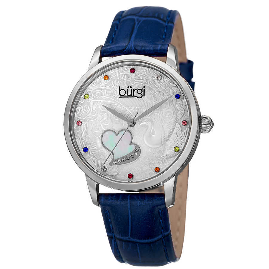 Women's blue leather strap watch with a silver case. Peacock design on dial, with colorful Swarovski crystal markers, and a MOP heart. BUR149BU
