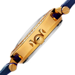 Women's blue quilted strap watch with a champagne quilted dial with crystals BUR154BU - Thumbnail
