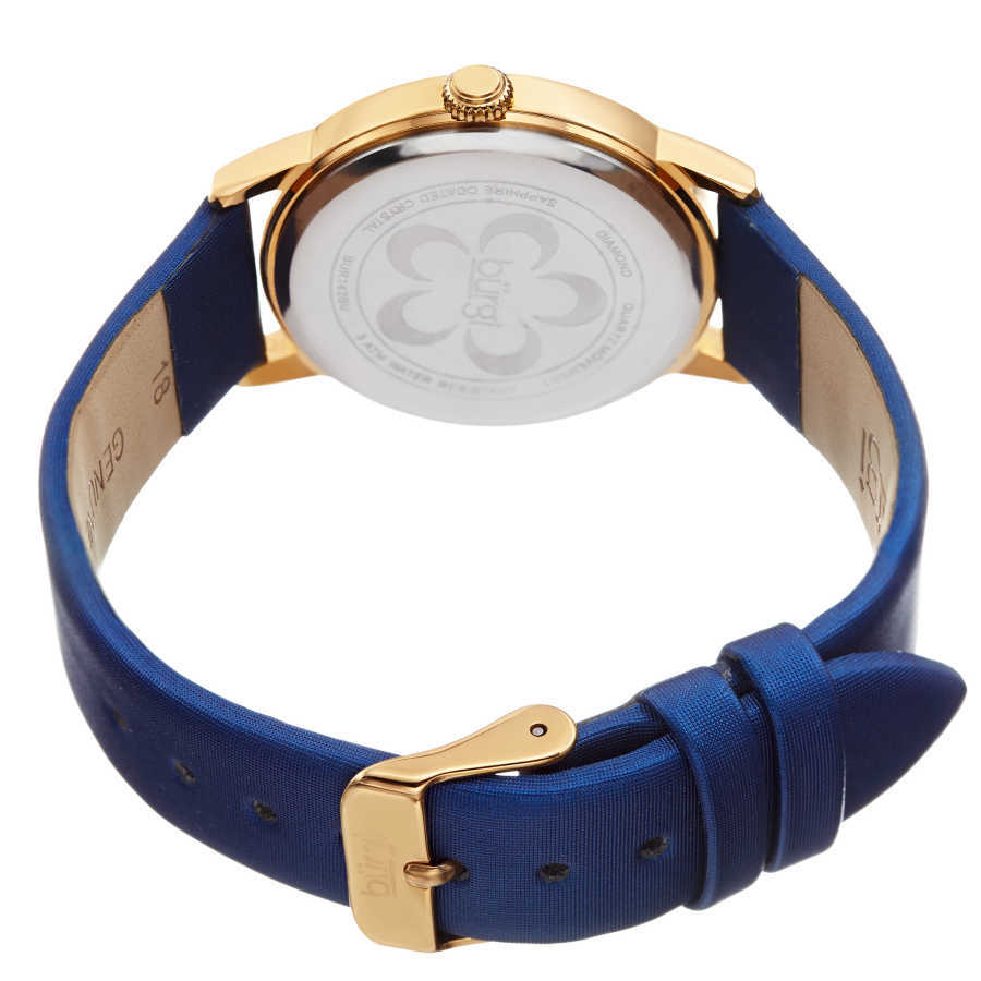 Women's blue satin strap watch with a gold case. Crystal filled bezel, MOP dial with flower design and diamonds. (updated AK580) BUR142BU