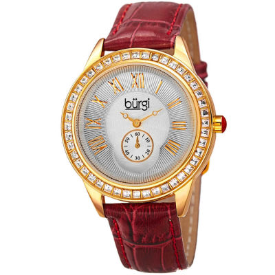 Burgi - Women's burgundy leather strap watch with a silver case, square crystals on the bezel. Outer coin edge dial and 60 seconds subdial at 6. (updated BUR106) BUR144BUR