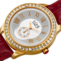 Women's burgundy leather strap watch with a silver case, square crystals on the bezel. Outer coin edge dial and 60 seconds subdial at 6. (updated BUR106) BUR144BUR - Thumbnail