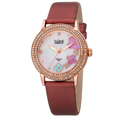 Burgi - Women's burgundy satin strap watch with a rose case. Crystal filled bezel, MOP dial with flower design and diamonds. (updated AK580) BUR142BUR