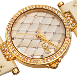 Women's cream quilted strap watch with a champagne quilted dial with crystals BUR154BG - Thumbnail