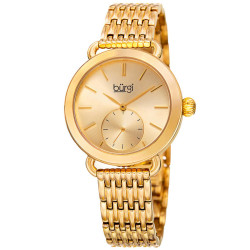 Women's gold-tone bracelet watch with a gold dial and seconds subdial. BUR153YG - Thumbnail