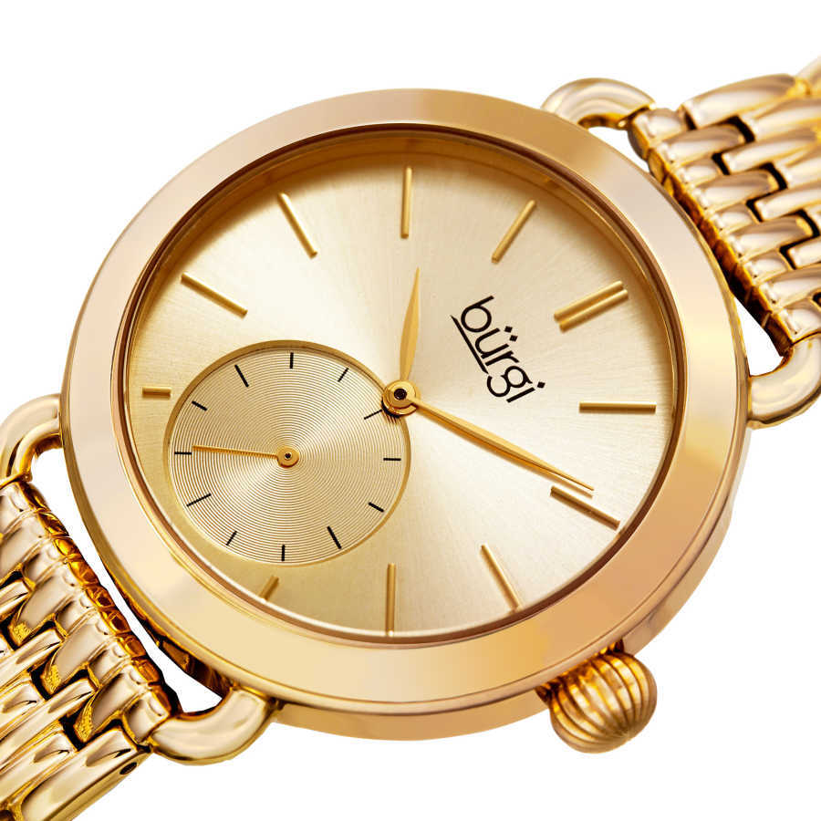 Women's gold-tone bracelet watch with a gold dial and seconds subdial. BUR153YG