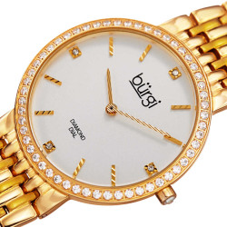 Women's gold-tone bracelet watch with a white dial and diamond markers, crystals on the bezel. BUR138YG - Thumbnail