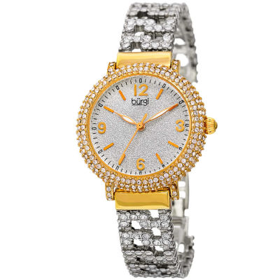 Burgi - Women's gold-tone bracelet watch with Swarovski crystals on the bracelet and bezel. Sparkling powder dial. BUR140YG