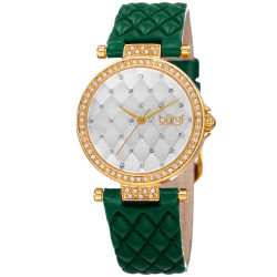 Women's green quilted strap watch with a silver quilted dial with crystals BUR154GN - Thumbnail