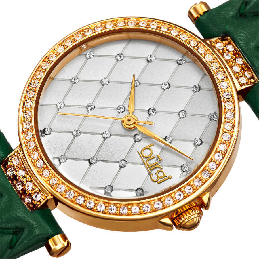 Women's green quilted strap watch with a silver quilted dial with crystals BUR154GN