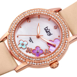 Women's nude satin strap watch with a rose case. Crystal filled bezel, MOP dial with flower design and diamonds. (updated AK580) BUR142NU - Thumbnail