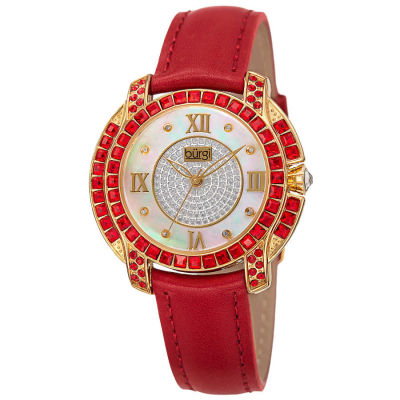 Burgi - Women's red strap watch with a rose case and light siam color Swarovski crystal baguettes BUR156RD