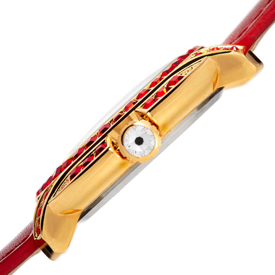 Women's red strap watch with a rose case and light siam color Swarovski crystal baguettes BUR156RD