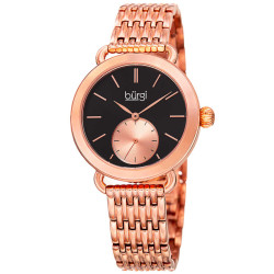 Women's rose-tone bracelet watch with a black dial and rose seconds subdial. BUR153RG - Thumbnail