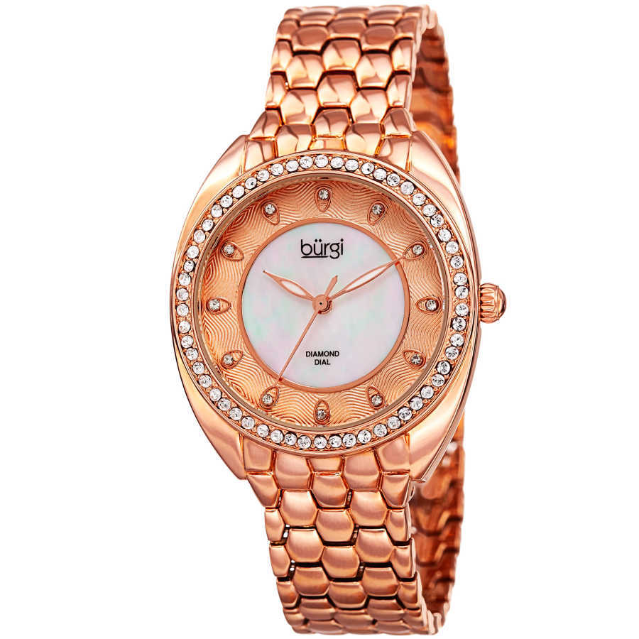 Women's rose-tone bracelet watch with a crystal filled bezel. Brown MOP inner dial with outer dial design and diamond markers. BUR145RG