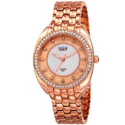 Women's rose-tone bracelet watch with a crystal filled bezel. Brown MOP inner dial with outer dial design and diamond markers. BUR145RG - Thumbnail