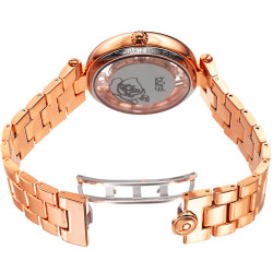 Women's rose-tone bracelet watch with a Swarovski crystal filled bezel. Flower design on dial, and transparent outer dial. BUR148RG - Thumbnail
