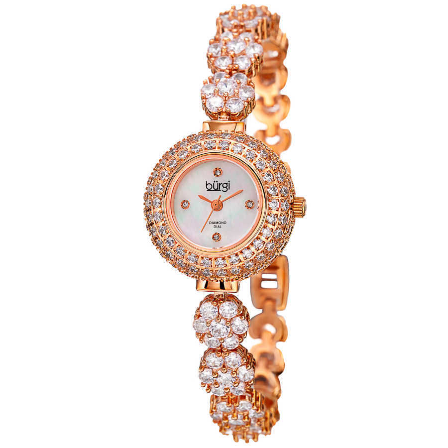 Women's rose-tone crystal flower link bracelet watch with crystals on the bezel, MOP dial with diamond markers. BUR139RG