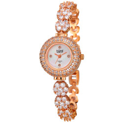 Women's rose-tone crystal flower link bracelet watch with crystals on the bezel, MOP dial with diamond markers. BUR139RG - Thumbnail