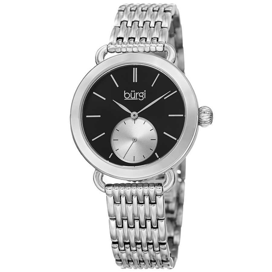 Women's silver-tone bracelet watch with a black dial and silver seconds subdial. BUR153SSB