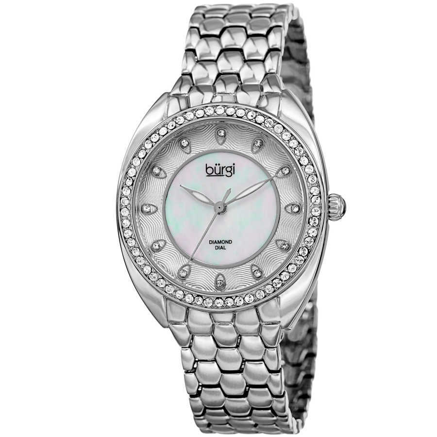 Women's silver-tone bracelet watch with a crystal filled bezel. MOP inner dial with outer dial design and diamond markers. BUR145SS