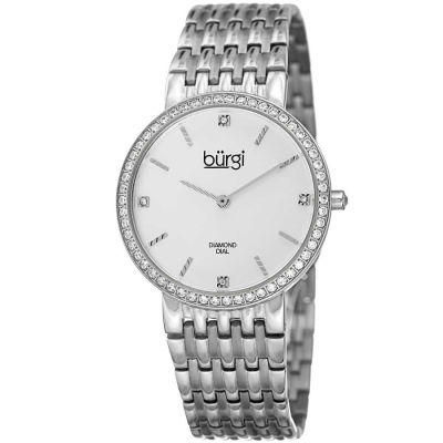Burgi - Women's silver-tone bracelet watch with a white dial and diamond markers, crystals on the bezel. BUR138SS