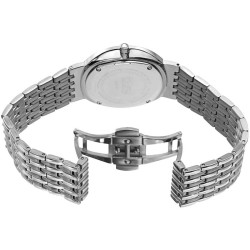 Women's silver-tone bracelet watch with a white dial and diamond markers, crystals on the bezel. BUR138SS - Thumbnail