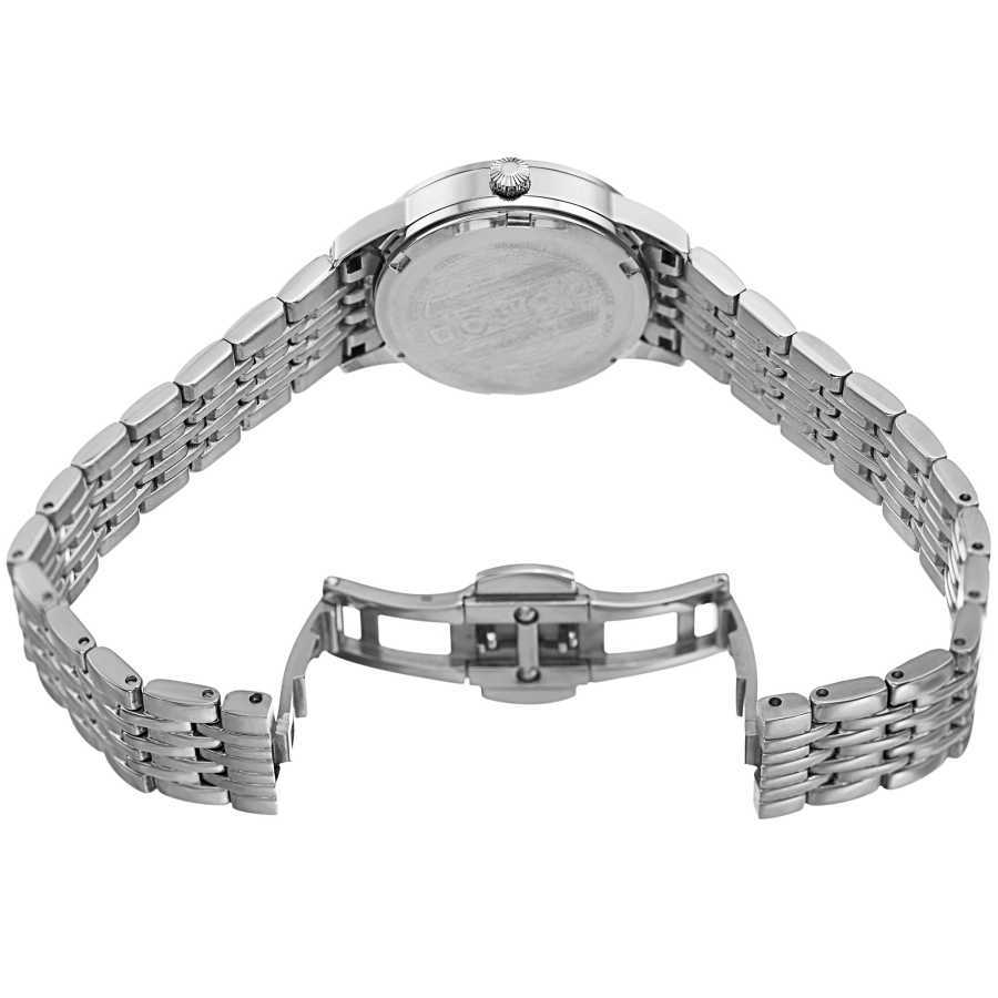 Women's silver-tone small case bracelet watch with a striped pattern silver dial, diamond markers and date at 6. BUR146SS