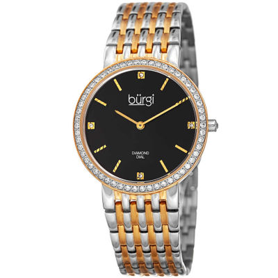 Burgi - Women's two-tone gold and silver bracelet watch with a black dial and diamond markers, crystals on the bezel. BUR138TTG