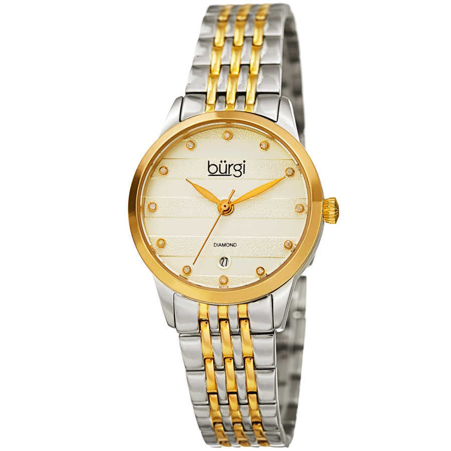 Women's two-tone gold and silver small case bracelet watch with a striped pattern silver dial, diamond markers and date at 6. BUR146TTG