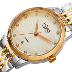 Women's two-tone gold and silver small case bracelet watch with a striped pattern silver dial, diamond markers and date at 6. BUR146TTG - Thumbnail
