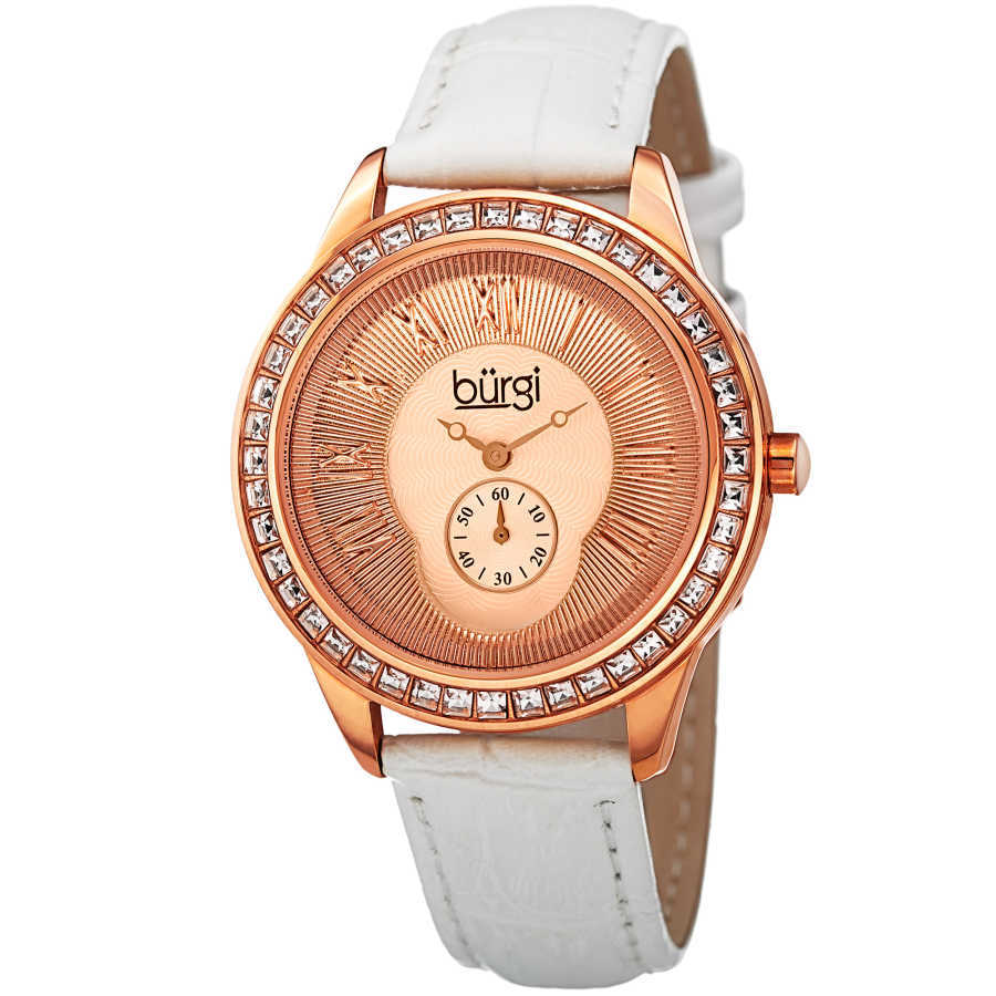 Women's white leather strap watch with a rose case, square crystals on the bezel. Outer coin edge dial and 60 seconds subdial at 6. (updated BUR106) BUR144WTR