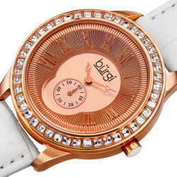 Women's white leather strap watch with a rose case, square crystals on the bezel. Outer coin edge dial and 60 seconds subdial at 6. (updated BUR106) BUR144WTR - Thumbnail