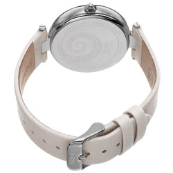 Women's white leather strap watch with a silver case and crystal filled bezel. White MOP dial with a Swarovski crystal swirl pattern. BUR143WT - Thumbnail