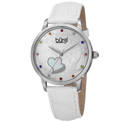 Burgi - Women's white leather strap watch with a silver case. Peacock design on dial, with colorful Swarovski crystal markers, and a MOP heart.