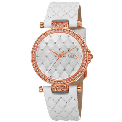 Burgi - Women's white quilted strap watch with a white quilted dial with crystals